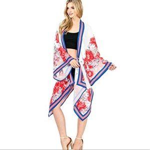 Flying Tomato | Floral Draped Open Kimono NWT